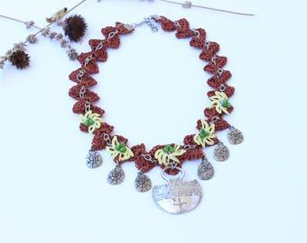 Crochet Oya Necklace, Bohemian Crochet Scarf Necklace,Handmade Boho Necklace, Crochet Bead Necklace, Beadwork Necklace, Crochet Oya Necklace
