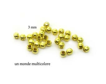 150 3 mm gold metal round spacer beads