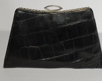 Vintage Black handbag, Leather, Silver Tone Clasp, Purse, elegant, Evening handbag, c.1950, Grace Kelly style, Timeless fashion, graduation