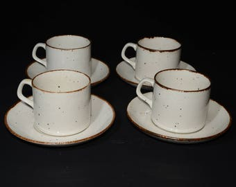 J & G Meakin, England, Lifestyle, 8 Piece Tea Set, 4 teacup and saucer sets,off-white speckled in brown,vintage, pottery, c.1970s, farmhouse