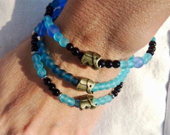 Give a gift that gives - buy a bracelet give a bottle of milk / Gift for protecting elephants / Gift for Supporting DSWT / 3 beaded bracelet