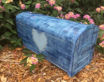 Blue jean hand painted mailbox painted heart denim blue jean wedding paint personalized name, address, number wedding date etc.