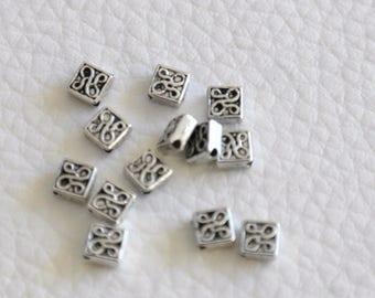 Set of 10 4 Tibetan silver spacer beads, 5mmx4, 5mm