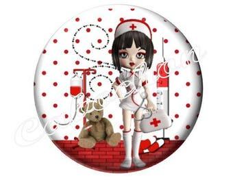 2 cabochons 20 mm glass, nurse