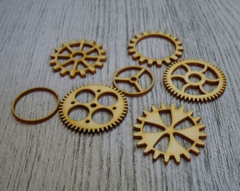 Set of 5 pieces 1383 gear embellishment wooden creations