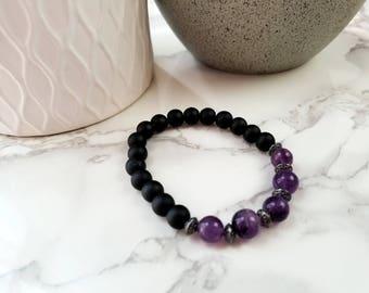 Amethyst and Onyx Bracelet  | Handmade | RGD-BR-0001