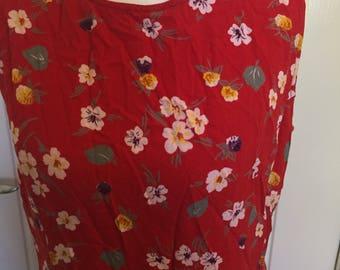 Vintage 90's red floral swing dress size S