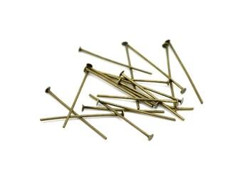 lot de 100 clous tiges à tête plate 22 mm métal bronze