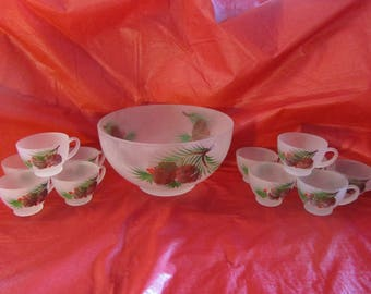 Satin Glass Punch Set Handpainted with Pinecones Evergreen & Holly Berries 12 pc.