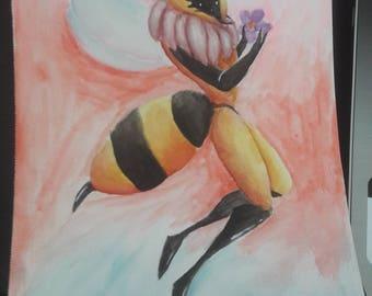 Watercolor Painting- Queen Bee