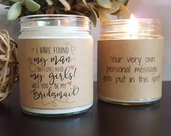 Will You Be My Bridesmaid, Scented Soy Candle, Soy Candle Gift, Bridesmaid Gift, Personalized Candle, scented candle, wedding candle gifts,
