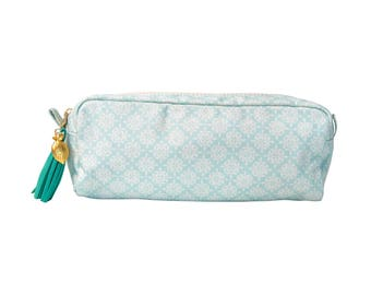 Love+Lemon Pencil Pouch Bag, Tassel Zipper Pull, Green/White Pattern (Style: 1059112083)
