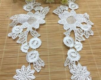 x 1 pair of guipure applique coloured floral 06