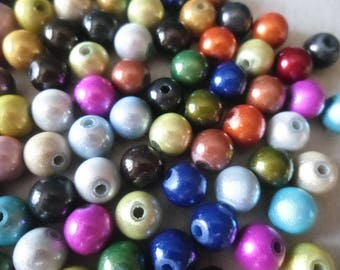 x 20 mixed magical sparkly multicolored 8 mm round beads