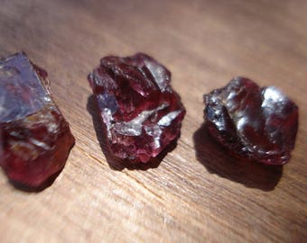 Gorgeous Rhodolite Garnets - 3 Big Genuine Raw Red Garnets - 33 Ct Rough Raw Gemstones Lot MG1165