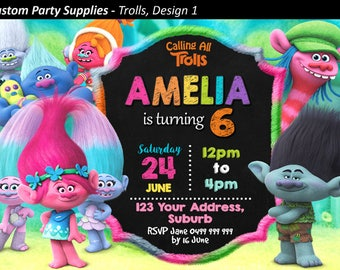 Trolls Birthday Party Invitation Invite Personalised Personalized Card