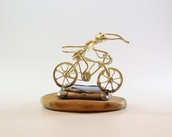 Ant riding bicycle- Miniature, Bike Gift,ant athlete,collectible animal,unique gift ,Bike Decor,mom, dad, boss hobby Sports riding