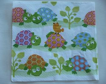 Cheep cheep and turtles using paper napkin