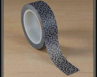 Washi tape Fleur-de-lis and circle black and white 15mm x 10 m
