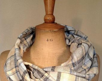 Cheich, écharpe,homme, lin, polyester : carreaux et lignes, bleues et beige. Tissage rugueux , style vintage