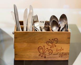 Best Friends Silverware Caddy, kitchen Utensil Holder,Personalize Kitchen Stuff, Picnic Caddy,kitchen tool holder, housewarming Gift, custom