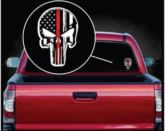 """Punisher Thin Red Line Color Decal Sticker 7"""" tall"""