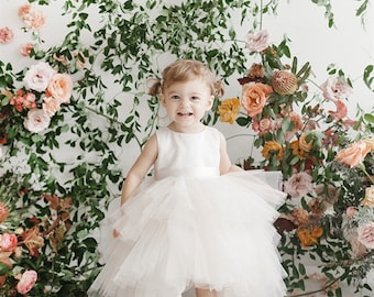 ruffled tulle high-low dress from infant to size 20