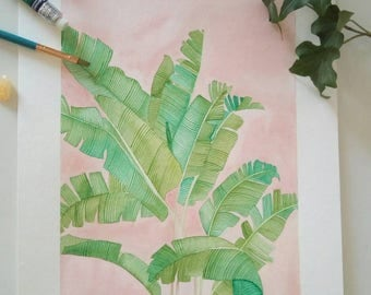 Banana leaves pink background