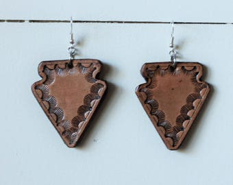 Natural Collection Arrowhead Earrings | Leather Earrings | Birthday Gift | Anniversary | Gifts under 25 | Handmade | Gifts for Her