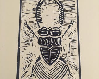 Original Linocut Print - Beetle