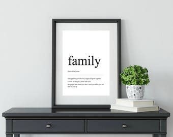 Family | Definition Print | Digital Download | Wall Art | Home Decor | Gift for her | Gift for him