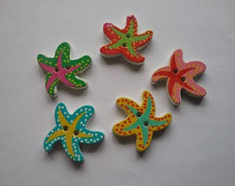 5 buttons 23mm multicolored starfish