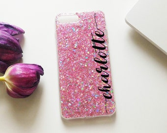 Sugar Pink, glitter iPhone case, sequins, cofetti, iPhone 7, iPhone 7 Plus,iPhone 8, iPhone 8 Plus, iPhone X, Personalized