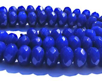 10 jades Abacus à facette de 8x5 mm perles pierre bleu nuit.