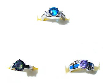 Bague plaqué argent cristal bleu, violet et multicolore et opale de feu bleu.