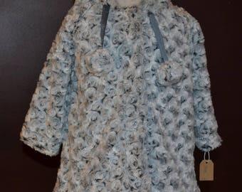 Manteau fillette en fausse fourrure grise