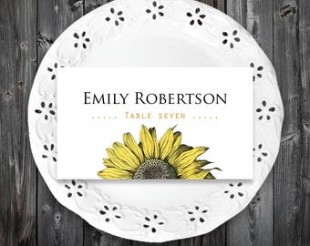 Sunflower Place Cards Garden Wedding Printable Place Cards Template Rustic Floral Escort Card Editable Name Cards Outdoor Wedding Place Card