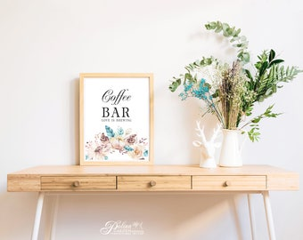 Floral Coffee Bar Sign Love is Brewing Bridal Shower Sign Printable Wedding Signs Bridal Party Coffee Bar Wedding Coffee Bar Reception Sign