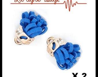Set of 2 PomPoms Decoration light blue 24mm x 11mm gold tassels