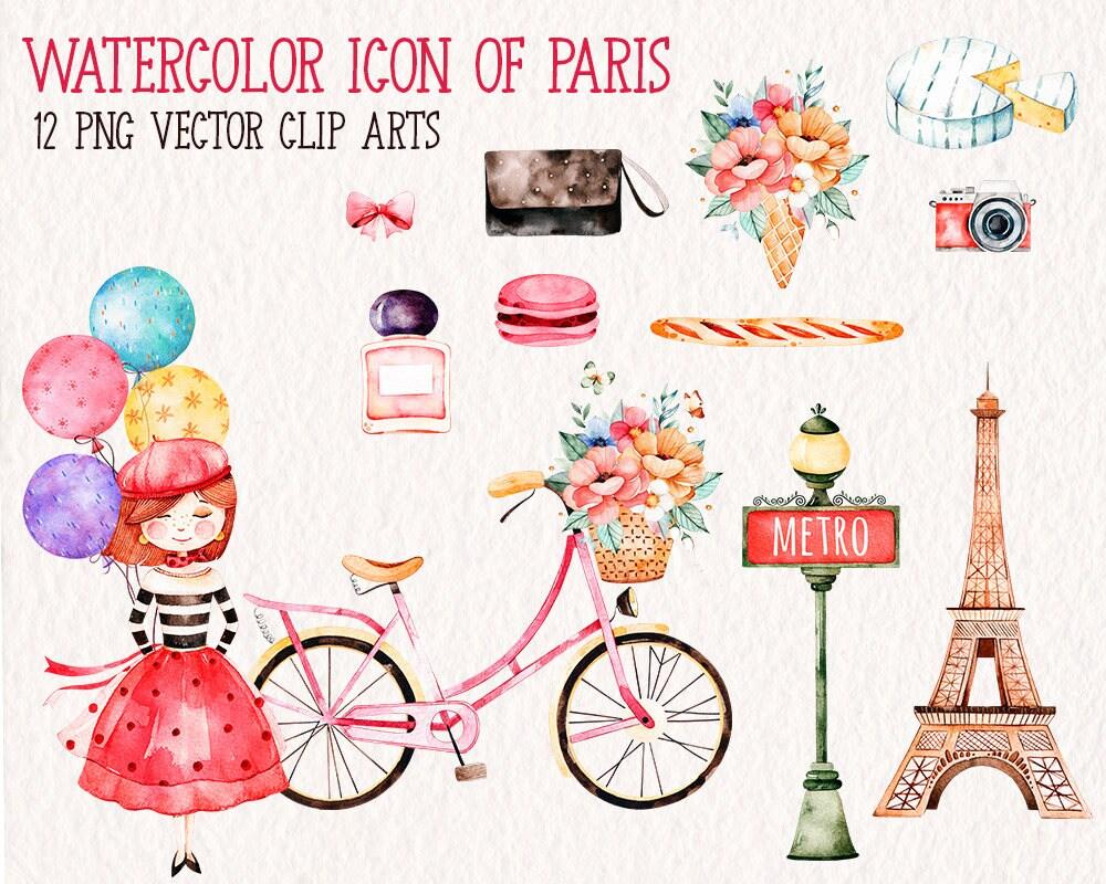 Paris City Clipart Hiqh Quality Vector Skyline Art Premium