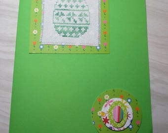 "Large embroidered ""Green egg"" Easter card"