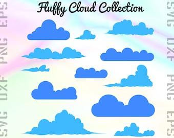 Cloud SVG Files - Puff Cloud Clipart - Cloud Cricut Files - Cloud Dxf Files - Cloud Cut Files - Blue Cloud Silhouette  - Svg, Dxf, Png, Eps