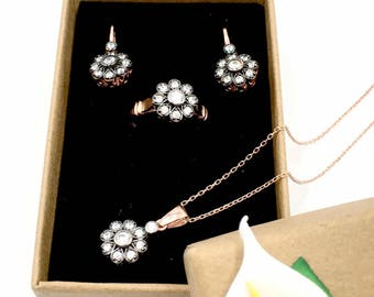 Sterling Silver Rose Gold Plated Jewelry Set
