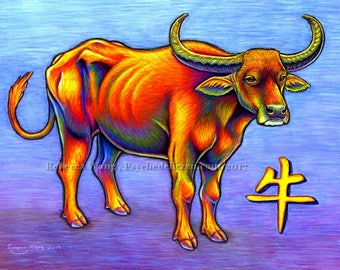 Chinese Zodiac Animals Year of the Ox Cow Bull Water Buffalo Colorful Original Pastel Drawing Artwork