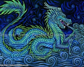 Chinese Azure Dragon Fantasy Mythological Creatures Giclée Fine Art Print