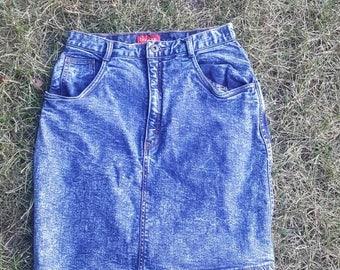 Vintage 80's Bonjour acid washed denim skirt