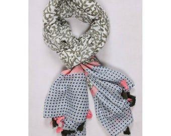 Khaki and pink scarf/shawl scarf