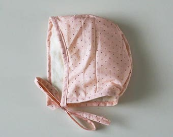 Light Pink Polka Dot   Bonnet   Baby bonnet   Baby shower gift   Baby hat   Bonnet   Newborn bonnet   Modern vintage   Toddler hat   Baby