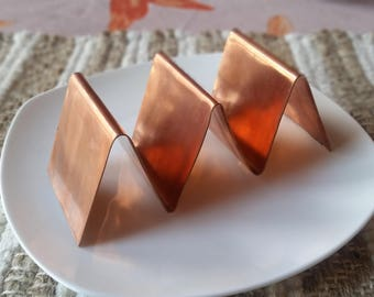 Copper Taco Holder/Stand/Serving Tray - Holds 2 or 3 Tacos