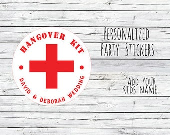 Personalized Hangover Kit , Wedding Stickers, Favor Tags, Labels, Thanks for Coming,Wedding Labels, Wedding Favour Stickers, Wedding Ideas